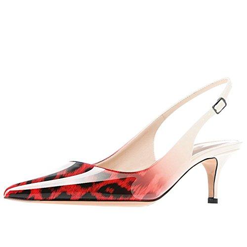 Lovirs Da Donna Con Cinturino Alla Caviglia Sandali Stiletto Con Tacco Medio A Punta Tacco Pompe Scarpe Per Abito Da Festa Leopard-rosso