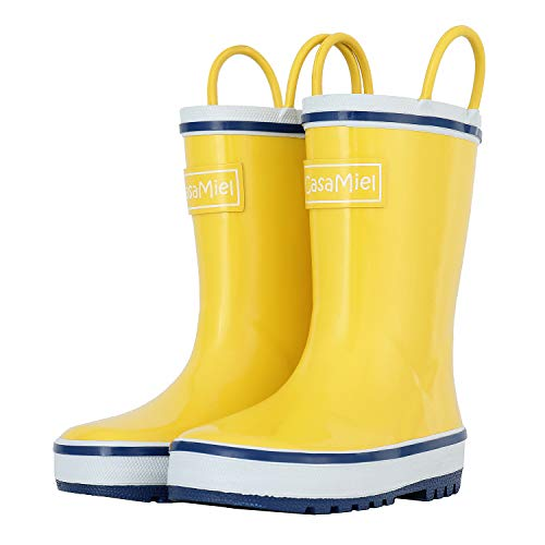 - CasaMiel Kid&Toddler Rain Boots for Boys and Girls, Children's Handcrafted Rubber Boots, Lively Yellow