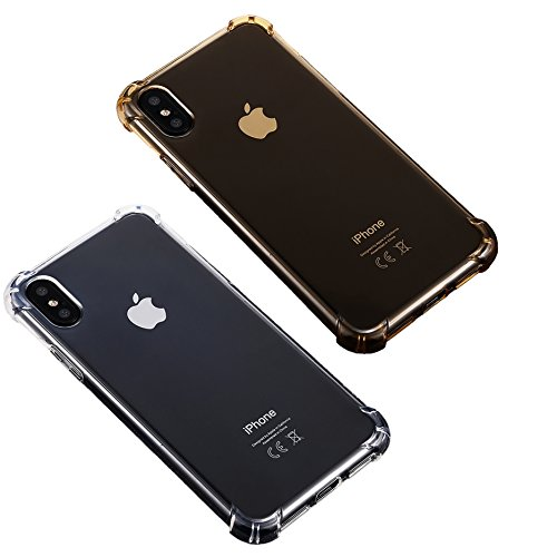 [2Pack]iBarbe iPhone X Case,iPhone 10 Case Crystal Transparent Clear TPU Cover with Corner Drop Protection for Excellent best Grip Slim Fit for men women girl guys for Apple 5.8