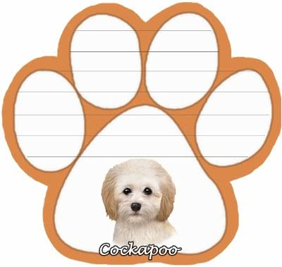 Cockapoo Notepad With Unique Die Cut Paw Shaped Sticky Notes 50 Sheets Measuring 5 by 4.7 Inches Convenient Functional Everyday Item Great Gift For Cockapoo Lovers and Owners