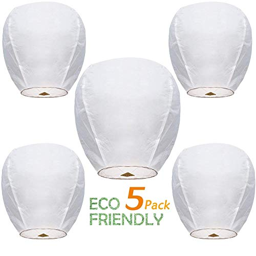 5 ECO Wire-Free Flying Chinese Sky Lanterns 100% Biodegradable, Environmentally Friendly Lanterns (Birthday Balloons Design Frame)