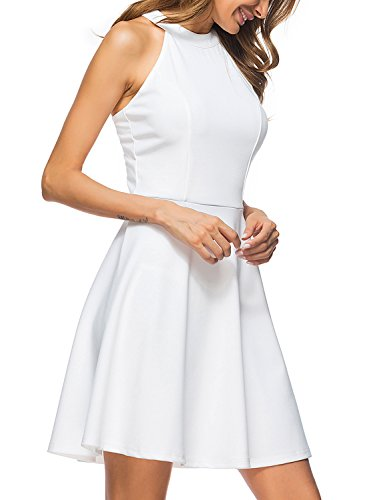 Lace Womens Bodice (Lyrur Women's Vintage Halter Neck Sleeveless Fitted Bodice Formal Pure White Lace Keyhole Party Dress (S, 9009-White))