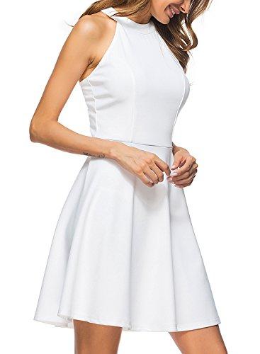 Lyrur Women's A-line Swing Party Dress Short White Lace Bridesmaid Dresses (M, 9009-White)