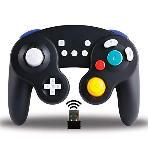Exlene Wireless Controller Gamepad for Nintendo Switch, Compatible with PC / PS3, Gamecube Style,Rechargeable, Motion Controls, Rumble, Turbo (Black)
