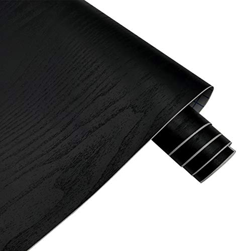 Yifely Solid Black Wood Grain Drawer Covering Paper Self Adhesive Shelf Liner Door Countertop Cabinet Sticker 17.7 Inch by 9.8 Feet