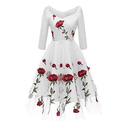 Artkingdome Women's Embroidered Eose Bud Silk Gauze Lace Sleeve Dress L White