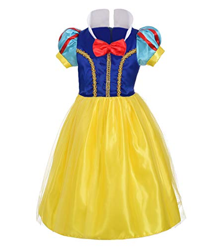 Dressy Daisy Girls' Princess Snow White Costume Fancy Dresses Up Halloween Party Size 6X]()