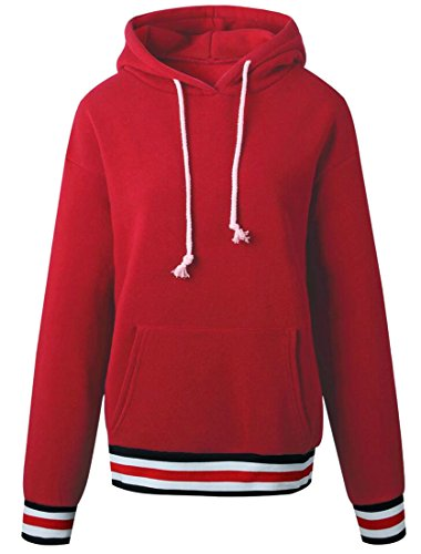 Lining Kangaroo Pullover Women amp;W Fleece Sleeve amp;S Red Pocket Long Sweatshirt Hooded M qfz8wxTO0n