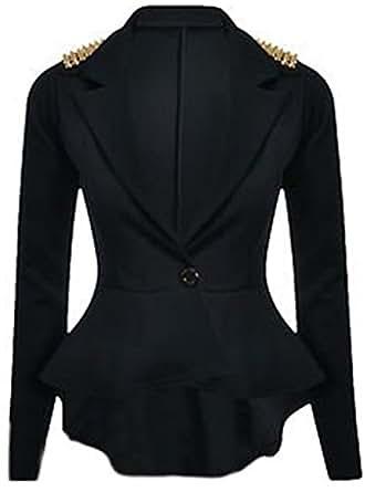Womens Spiked Studded Shoulder Peplum Button Blazer (Sty) (10 (uk 14), Black)