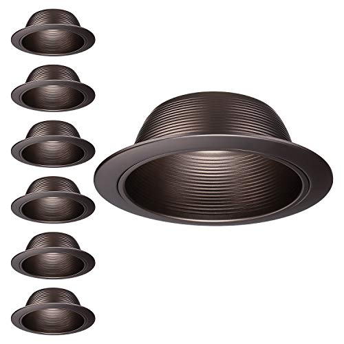 "TORCHSTAR 6 Pack 6-Inch Recessed Can Light Trim, Oil Rubbed Bronze Metal Step Baffle Trim, for PAR30, PAR38, BR30, BR40 Light Bulb, for 6"" Recessed Light Can, Fit Halo/Juno Remodel Recessed Housing"