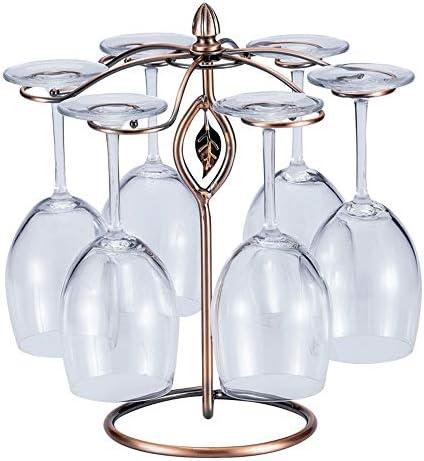 掛け シャンパン グラススタンド ホームバーホテルリビングルームのための器具ホルダーワイングラスハンガーを立っ6フック金属製のワイングラススタンド ホルダー 乾燥ラック (色 : Bronze, Size : 15.5*32.5CM)