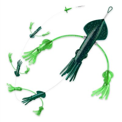 Squidnation Flippy Floppy Thing Fishing Daisy Chain Tuna & Marlin Magnet (Super Dark Green & Green) by Squidnation