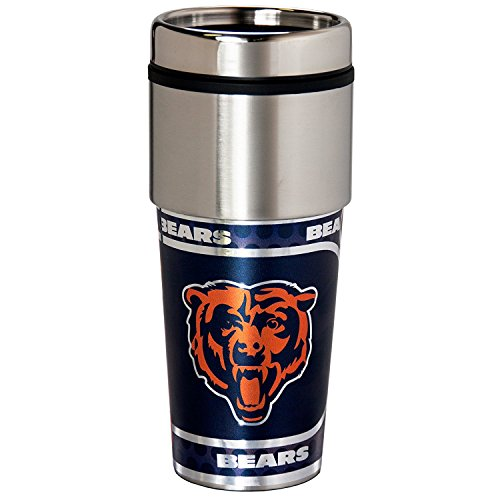 NFL Chicago Bears 16 oz. Stainless Steel Travel Tumbler with Metallic Graphics, One Size, Team Color