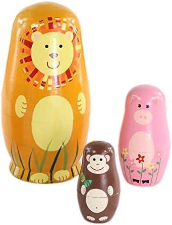 Herewegoo 5 Pcs//Set Children Toys Russian Nesting Dolls Wooden Animals Matryoshka Doll Handmade Crafts Toy Kid Gifts