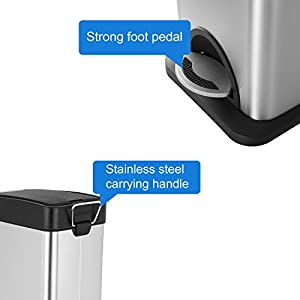 Step Trash Can, Malmo Stainless Steel Trash Can with Lids for Kitchen Bathroom Office, Removable Inner Wastebasket, 8Liter/2.1Gallon