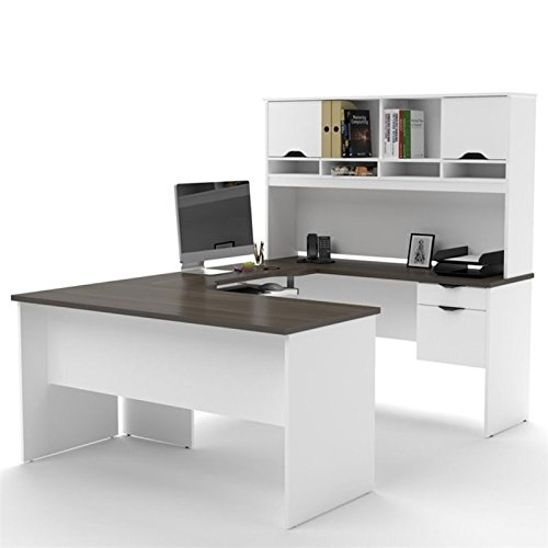Pemberly Row U Shaped Computer Desk with Hutch in White and Antigua