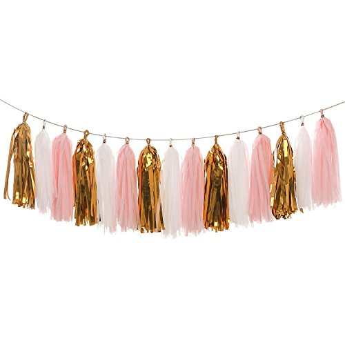 LEWOTE Tissue Paper Tassel Garland - 20pcs Tassels Per Package - 12 Inch Long Tassels(Gold/Pink/White)