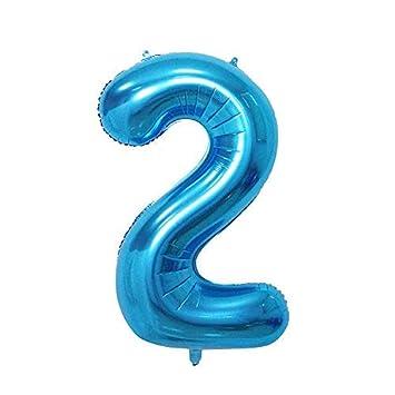 ShopVip Globos de cumpleaños - número 2 - Decoración Cumpleaños gigante de la boda 80 CM - Número gigante globo azul - Número globo 2 años - Número 2 ...