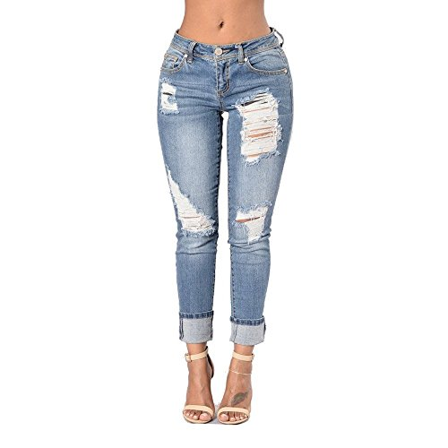 Darcy Traut Hot sale Women's Washed Holes Low-waisted Denim Blue Skinny Pencil Jeans Light BlueMedium (Great Gatsby Themed Dress Up)
