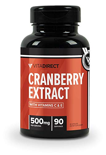 Vitadirect Premium Cranberry Pills + Vitamin C & Vitamin E Supplement, 500 mg, 90 Vegetarian Capsules, High Quality Supplements, Made in The USA For Sale