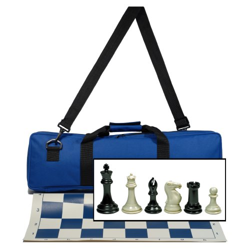 (WE Games Premium Tournament Chess Set with Deluxe Electric Blue Canvas Bag, Super Weighted Staunton Chess Pieces - 4 Inch King)
