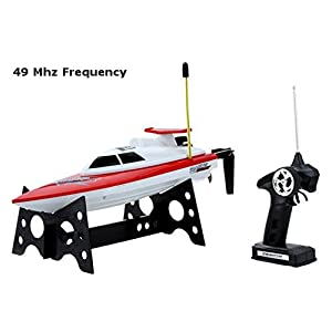 "Top Race Remote Control Water Speed Boat, Perfect Toy for Pools and Lakes ""RED"" 49Mhz (TR-800B)"