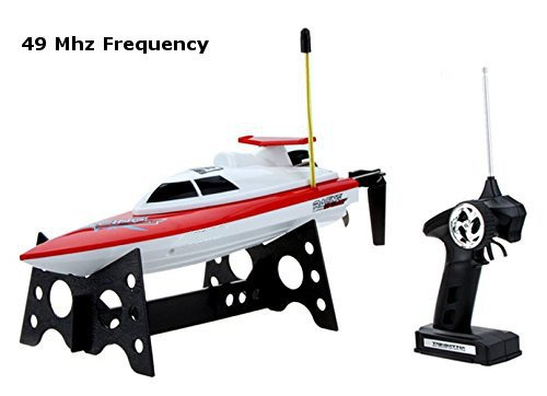 Top Race® Remote Control Water Speed Boat, Perfect Toy for Pools and Lakes RED 49Mhz