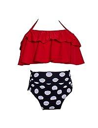 Happy Cherry Swimwear Halter Neck High Waisted Swimsuit set for 2-8T Baby Girls