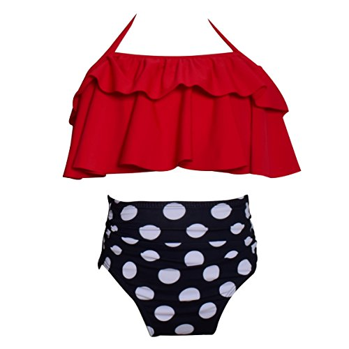 Happy Cherry Baby Girls' Two Piece Swimwear Set High Waisted Bikini Swim Suit Summer Dream Tankini Swimsuit for 4-5T Girls - Red ()