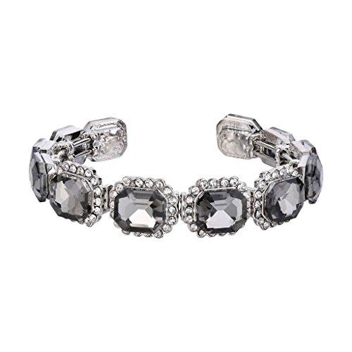 BriLove Wedding Bridal Bangle Bracelet for Women Multi Emerald Cut Crystal Open Stretch Bracelet Grey Black Silver-Tone