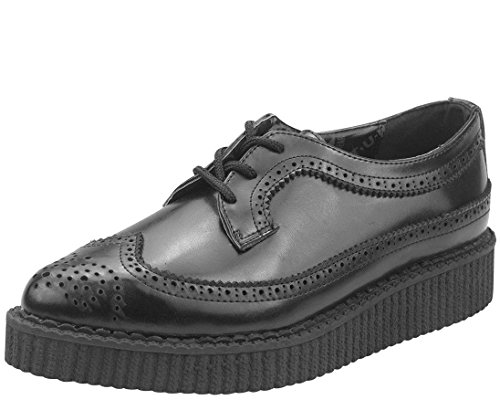 T.U.K. Unisex Pointed Wingtip Dress Creepers, Black Leather, 6 M Men's, 8 M (Tuk Creeper Shoes)