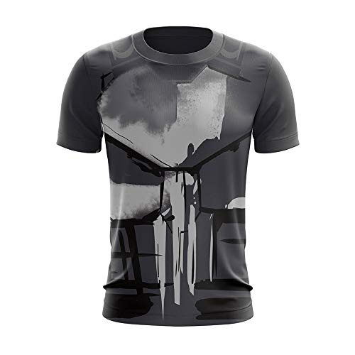 Anifans Men's Punisher T-Shirt Skull Round Neck Shirts Short Sleeves (XXXL) Black