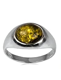Sterling Silver Green Amber Oval Classic Ring