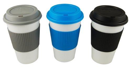 Reduce GoGos Barista Coffee Cups, 16oz, Slate White - 3pk Set