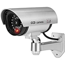 Flexzion Dummy Fake Camera Home Security System Simulated Surveillance Waterproof CCTV Indoor Outdoor Use with LED Flashing Red Light and Mounting Bracket in Silver