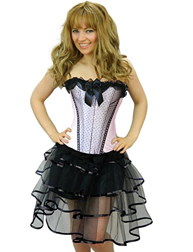 [Yummy Bee Womens Burlesque Corset + Tutu Skirt Costume Size 16 - 18 Pink Long Rib] (Pink Moulin Rouge Costumes)