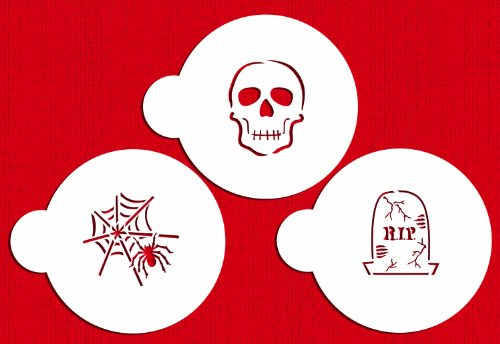 Designer Stencils C457 Scary Halloween Cookie Stencil Set, (Spider Web, Skull, Gravestone), Beige/semi-transparent -