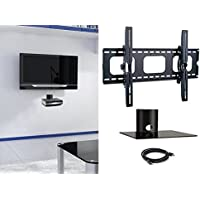 2xhome - NEW TV Wall Mount Bracket & Single Shelf Package – Secure LED LCD Plasma Smart 3D WiFi Flat Panel Screen Monitor Moniter Display Large Displays - Flat Thin Ultra Slim Sleek Against the Wall Adjusting Adjustable - Single Tier Under TV Tempered Glass Floating Hanging Shelves Shelving Unit Rack Tower Set Bundle - Up to 15 degree degrees Tilt Tilting Tiltable Heavy Duty Strong Durable Support - Mounted Mounting Home Entertainment Media Center Multimedia Furniture Family Living Room Game Gaming – Management Designer Organization Space Saver System HDTV HDMI HD Video Accessories Audio Video AV Component DVR DVD Bluray Players Cable Boxes Consoles Satellite XBox PS3 - Compatible VESA 200mm x 200mm, 400mm x 400mm , 600mm x 400mm, 700mm x 450mm, 718mm x 450mm - Universal Fit for LG Electronics Samsung Vizio Sharp TCL Toshiba Seiki Sony Sansui Sanyo Philips RCA Magnavox Panasonic JVC Insignia Hitachi Emerson Element SunBrite SunBright 45 46 47 48 49 50 51 52 53 54 55 56 57 58 59 60 61 62 63 64 65 66 67 68 69 70 71 72 73 74 75 76 77 78 79 80 81 82 83 84 85