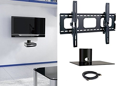 2xhome - NEW TV Wall Mount Bracket & Single Shelf Package – Secure LED LCD Plasma Smart 3D WiFi Flat Panel Screen Monitor Moniter Display Large Displays - Flat Thin Ultra Slim Sleek Against the Wall Adjusting Adjustable - Single Tier Under TV Tempered Glass Floating Hanging Shelves Shelving Unit Rack Tower Set Bundle - Up to 15 degree degrees T...