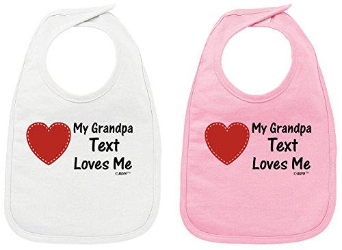 1 Replica Customized Jersey - Personalized Baby Clothes Baby Shower Gifts Personalized My Grandpa Name Loves Me Baby Bib White and Pink 2 Pack