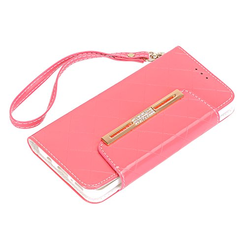 Crossbody Lady Plus elecfan Case Slots amp; Cover for Bag PU Poacket Leather S8 Color Shiny Samsung 6 Plus Cards 2 with S8 Envelope Galaxy Pink Money Wallet Handbag Hot A05 Chain for Candy White Multi inch ZrqPwZ8