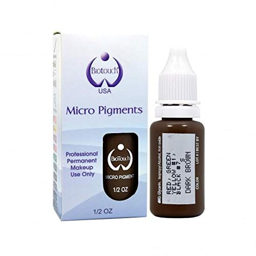 BIOTOUCH Micropigment DARK BROWN Pigment Color Permanent Makeup Microblading Supplies Eyebrow Shading Micropigmentation Cosmetic Tattoo Ink Lip Eyeliner Ombre Feathering Hair Stroke LARGE Bottle 15ml