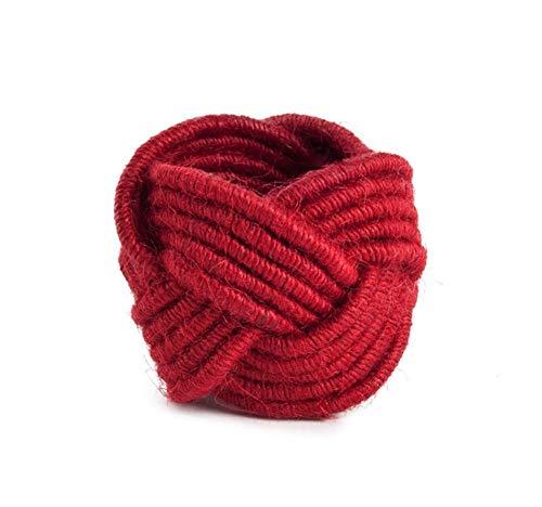 Kaizen Casa Set of 6 Classic Braided Jute Burlap Napkin Rings (Red, 6) (Napkin Rings Flower)