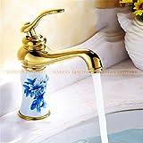 copper kitchen faucet kohler Basin Faucet Brass Golden White Paint Bathroom Faucet Single Handle Vanity Sink Deck Retro Ceramics Mixer Water Tap Golden