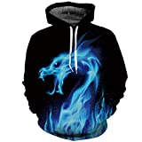 Men/women 3d Sweatshirts Print Fire Dragon Hooded Hoodies Sweatshirts Pullovers,Blue,Small / Medium