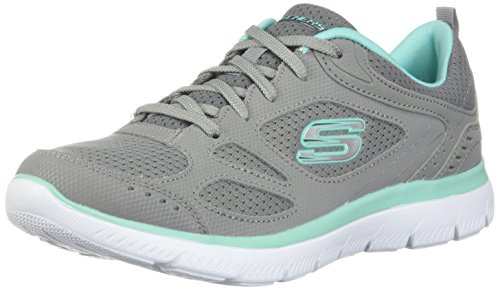 Skechers Women's Summits Suited Lace Up Sneaker Gry/TRQ 6.5 M US
