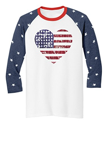 American Flag Baseball Jersey (American Heart Flag USA 4th of July 3/4 Women Sleeve Baseball Jersey Shirt Medium Stars)