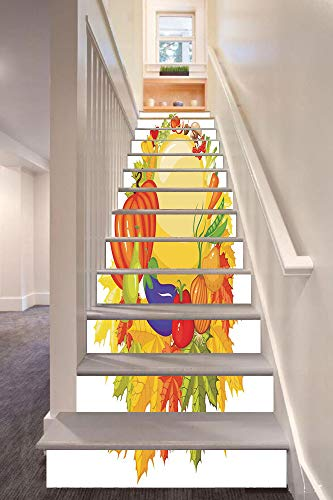 Anchor Bar Peppers - Harvest 3D Stair Riser Stickers Removable Wall Murals Stickers,Garden Products from Whole Year Mushroom Bell Peppers Carrot Leek Healthy Life Decorative,for Home Decor 39.3