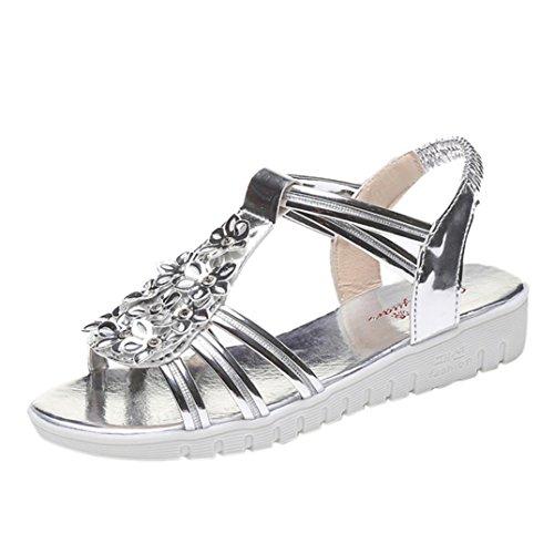 Clode® Womens Sandals, Summer [New Fashion] Ladies Girls PU Leather Flower Peep Toe Flat Sandals Beach Shoes Silver
