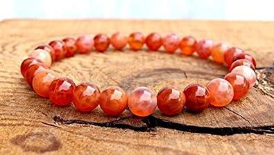 Jewels Beads, pulsera apilable de ágata de fuego AAA++ de 6 mm, 3 chakras inferiores, protección contra el código de energía negativa, UKA-8438